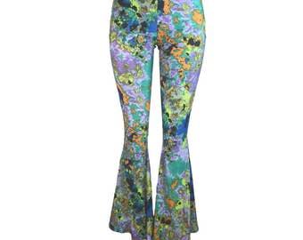 Splatter Bell Bottom Pants - Yoga, Rave, Festival, EDM, 80s Clothing - High Waisted