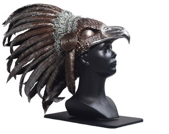 """Steel giant eagle head headdress sculpture. """"Chief Tanni"""" remake. Native indian style. Metal Tribal Feather."""