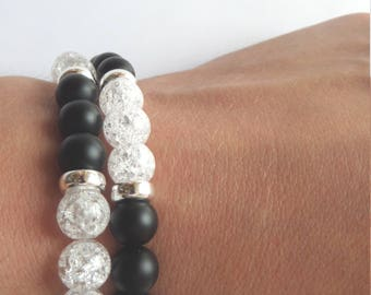 "Offer. Two ""black and white"" bracelets with natural Snow White stones, Tibetan beads and 925 silver beads. Handmade jewelry."