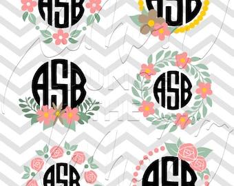 Monogram svg, 6 floral monogram svg, flower svg files, flower monogram svg, monogram cut file, digital cutting file, commercial use OK,