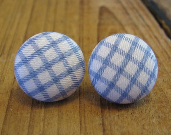 """Fabric Button Earrings, 3/4"""" Round, Light Blue and White Shepherd's Check Pattern"""