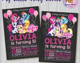 My Little Pony Invitation, My Little Pony Rainbow Invitation, My Little Pony Party, My Little Pony Birthday, MLP Blackboard Chalkboard