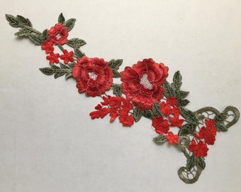 Red embroidered flower patch applique