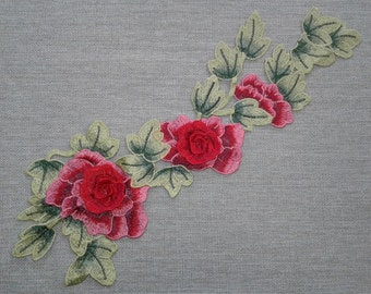 Floral embroidered patch applique