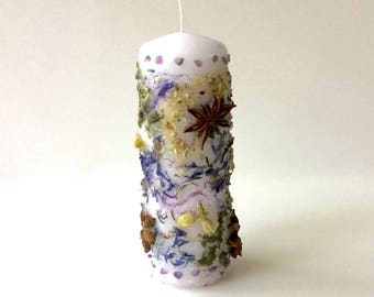 """PSYCHIC Altar Candle- Dressed w/Herbs, Amethyst, Violet/Silver Glitter, 2""""x6"""" Burns 20 hrs wicca psychic dream magic spell divination tarot"""