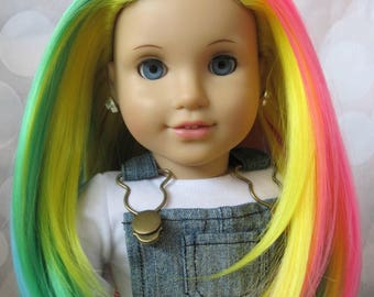 "OOAK 18"" Custom American Girl Doll Julie Blue Eyes Thick Silky Rainbow Hair"