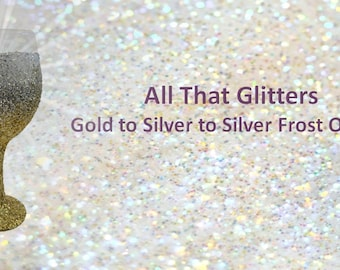 "Gold and Silver Glitter Wine Glass "" All that Glitters"""