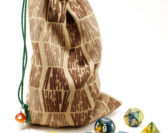 Drawstring Bag, Dice Bag, Dice Pouch, Gift Bag, Dungeons and Dragons, D&D, Abstract Wood, Leaves