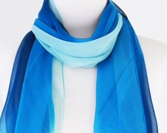 Soft Elegant Long Wrap Scarves / Gradient / Blue / Spring Summer Scarf / Women Scarves / Accessories / Handmade