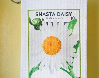 Waffle Weave Vintage Seed Packet - White Shasta Daisy Dish Towel | Free Shipping | Housewarming Gift | Shower Gift | Wedding Gift