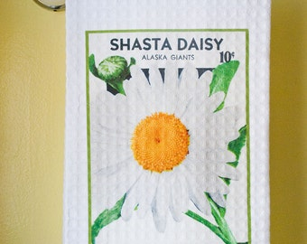 Waffle Weave Vintage Seed Packet - White Shasta Daisy Dish Towel | Free Shipping | Housewarming Gift | Shower Gift | Wedding Gift