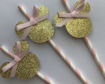 Pink and gold Minnie Mouse straws. First Birthday Girl.  Pink and gold minnie party. Minnie Mouse party decor