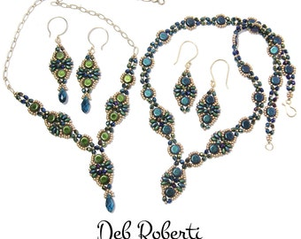 Babette Necklace & Earrings beaded pattern tutorial by Deb Roberti