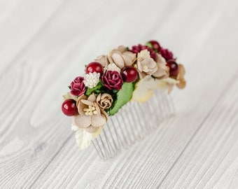 Flower comb Flower accessory Flower headpiece Burgundy gold floral comb Hair comb Wedding flower comb Bridal flower comb Winter wedding