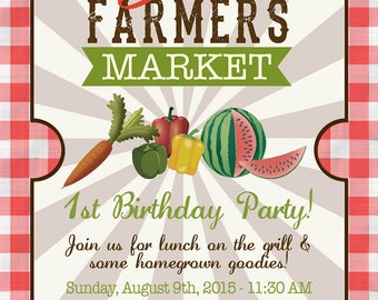 Farmers Market Birthday Party Invite - DIGITAL FILE ONLY