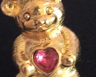 Vintage Avon Goldtone and Purple Rhinestone Heart Scatter Pin