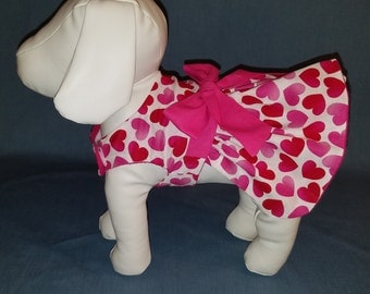 Dog Dress Pink Hearts Dog Clothes Pet Clothes