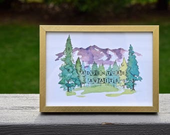 Adventure Awaits - Watercolor Art Print
