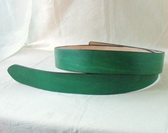 Leather belt green 4 cm
