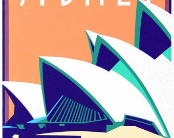 Sydney Opera House. Architecture/travel poster