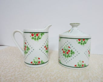 Vintage Sugar Bowl and Creamer, Swiss Strawberry Dot Creamer and Sugar Bowl, Enesco China Creamer and Sugar Bowl, 1975 Enesco China - V131