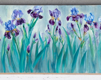 Flower-de-luce. Irises, flowers,morning.Horizontal elongated non-standard format.Ultramarine,blue,purple,gray,turquoise,pink,ocher,yellow. .