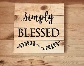 Simply Blessed Leaves Wood Sign Home Decor Gift Sign Natural Wood Sign