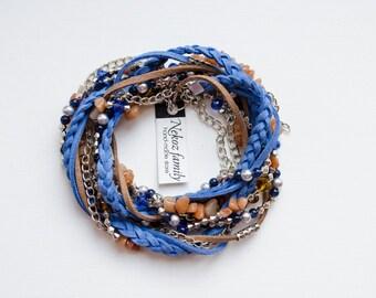 Boho style bracelet wrap suede bracelet triple wrap bracelet natural cornelian bead bracelet brown blue jewelry for every day gift for her