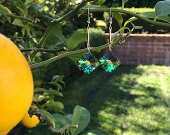 Vintage Swarovski Square crystal earrings