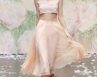 Peach Silk Chiffon Outfit with french Lace