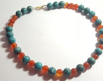 "Turquoise, Carnelian 15"" Beaded Necklace"