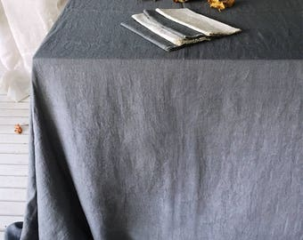 Pure Linen Tablecloth- 14 colors -Linen Tablecloth- Natural Linen Tablecloth-Wedding Tablecloth-choose your size/color #Dinner for Two#