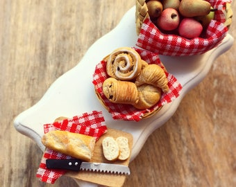Country Breakfast Set, Set of 3 pcs-Miniature Basketball, Miniature Croissants Bread, Miniature Fruit Basket, 1:12 Scale Dollhouse Miniature