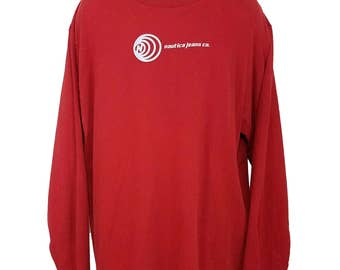 Nautica Jeans Company T Shirt Vintage 90s Red Long Sleeve Spell Out Mens Size XL