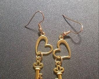 Golden Key to My Heart Dangle Earrings