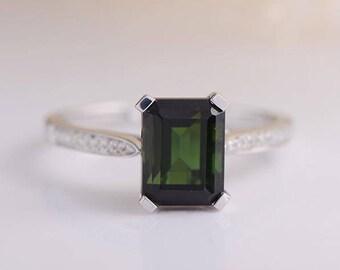 Tourmaline Ring White Gold Emerald Cut Green Tourmaline Engagement Ring Half Eternity Diamond Birthstone Anniversary Promise Wedding Ring
