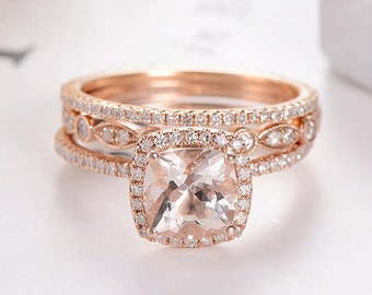 Etonnant Art Deco Morganite Bridal Set Cushion Cut Rose Gold Wedding Ring Set  Marquise Antique Diamond Eternity