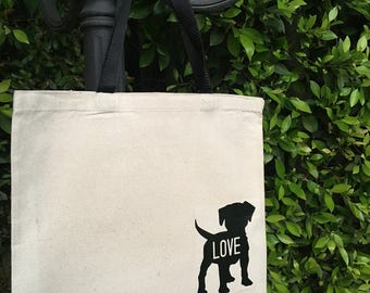 Puppy Love Canvas Market Tote Bag