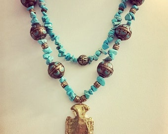 Turquoise Howlite & Brass Necklace and Earring Set