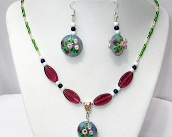 Necklace-Earring Jewelry Set with Hand Blown Glass Flower Pendant-Easter Jewelry-Spring Colors