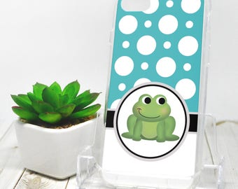Adorable Frog iPhone 7 Case - Turquoise Polka Dot - iPhone 7 Plus Case - Cute Green Froggy Cartoon Illustration