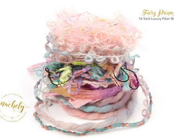 Fairy Princess Fiber Art Yarn. 16 Yard Novelty Yarn, Ribbon and Art Fiber Bundle.