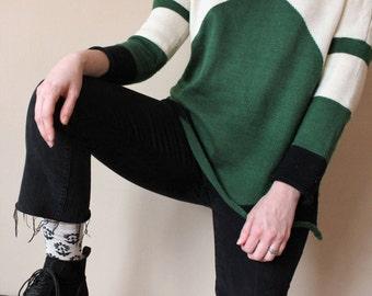 Color blocked oversized sweater/green, white, black/longsleeve