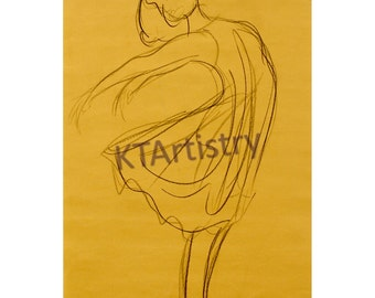 Lil' Dancer, Fine Art Print of Original Drawing, Charcoal Pencil Figure Drawing