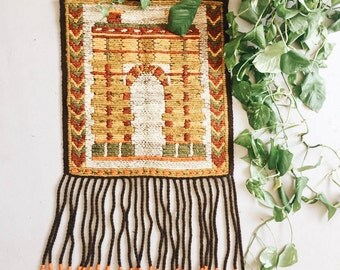 Vintage Wool Tapestry of Architectural Building