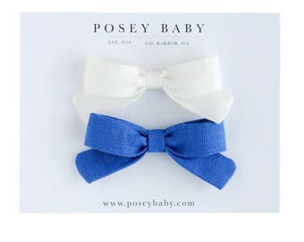 Little Lou Set | Marina Blue and White | Linen Baby Headbands & Bows