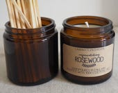 rosewood handpoured soy wax candle / 120ml amber jar / home decor / gift / scented candle / rejuvenating / essential oil / handmade