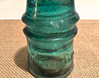 Vintage Turquoise Blue Glass Insulator- small