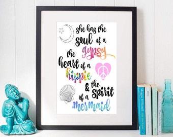 Gypsy Soul, Gypsy Soul Print, Gypsy Soul Decor, Spirit of a Mermaid, Gypsy Wall Art Decor, Gypsy Art Print, Gypsy Boho Wall Art, Mermaid