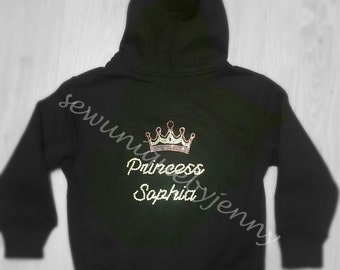 Personalised Rhinestone Pink Crown Hoodie
